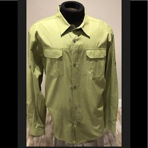 Mens Prana Green Button Down Shirt Sz XL Active
